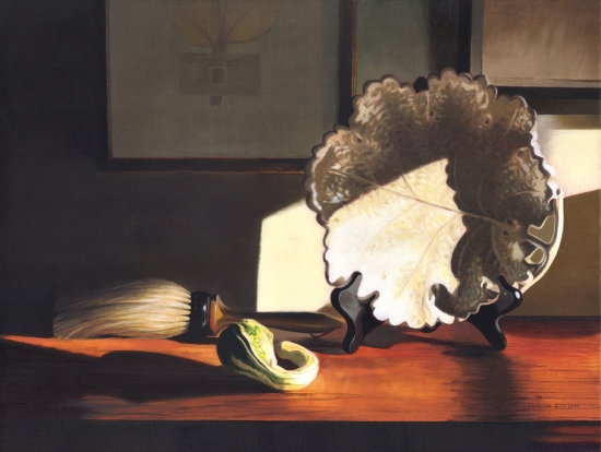 <strong>Grape Plate and Gourd</strong><br />Oil on Linen<br /><br /><br /><br />